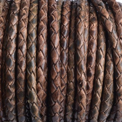 Bruin Rondgevlochten leer vintage bruin tinten 4mm - prijs per 20cm