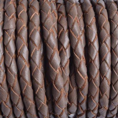 Bruin Rondgevlochten leer taupe bruin 4mm - prijs per 20cm