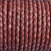 Bruin Rondgevlochten leer vintage rood cognac 4mm - prijs per 20cm