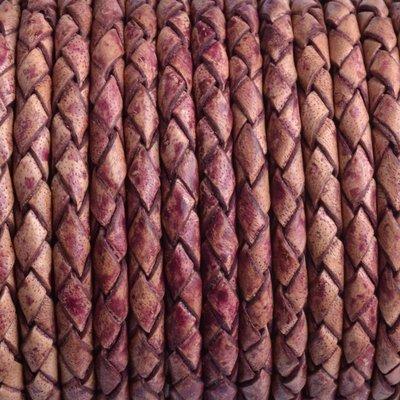 Bruin Rondgevlochten leer vintage naturel plum 4mm - prijs per 20cm