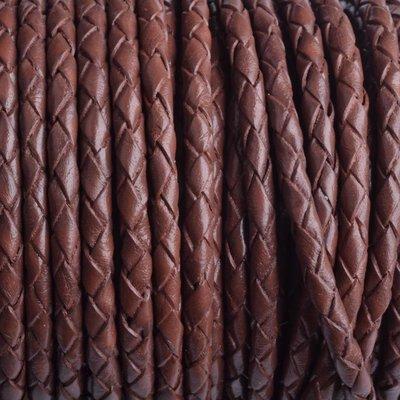 Bruin Rondgevlochten leer bruin 4mm - prijs per 20cm