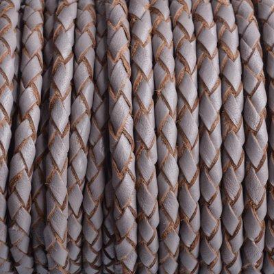 Grijs Rondgevlochten leer licht grijs 4mm - prijs per 20cm