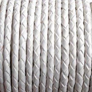 Wit Rondgevlochten leer wit 4mm - prijs per 10cm