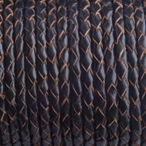 Zwart Rondgevlochten leer zwart naturel randen 4mm - prijs per 10cm