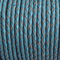 Turquoise Rondgevlochten leer turquoise blue 4mm - prijs per 10cm