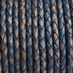Blauw Rondgevlochten leer vintage blauw naturel 4mm - prijs per 10cm