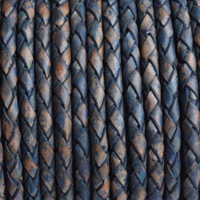 Blauw Rondgevlochten leer vintage blauw naturel 4mm - prijs per 20cm