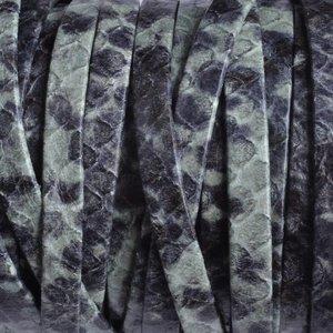 Turquoise Plat nappa leer turquoise groen zwart reptiel 5x1.5mm - prijs per cm