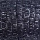Zwart Plat italian leer zwart zilver streepjes 5x1.5mm - prijs per cm