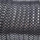 Zilver Plat italian leer zwart zilver geblokt 5x1.5mm - prijs per cm