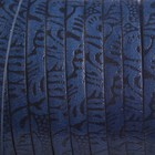 Blauw Plat italian leer blauw met zwarte print 5x1.5mm - prijs per cm