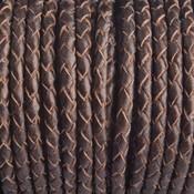Bruin Rondgevlochten leer brons metallic 3mm - prijs per 20cm