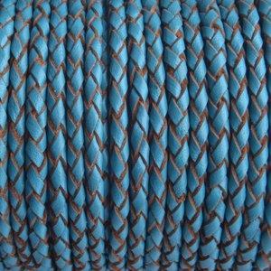 Blauw Rondgevlochten leer aqua blauw 3mm - prijs per 20cm