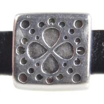 Zilver Leerschuiver vierkant boho Ø5x2mm Zilver DQ