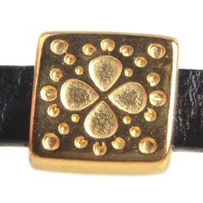 Goud Leerschuiver vierkant boho Ø5x2mm Goud DQ