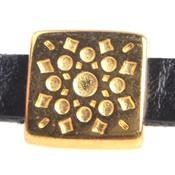 Goud Leerschuiver vierkant bohémien Ø5x2mm Goud DQ