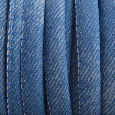 Blauw Imitatie Leer Jeans blauw 6x4mm - prijs per 20cm