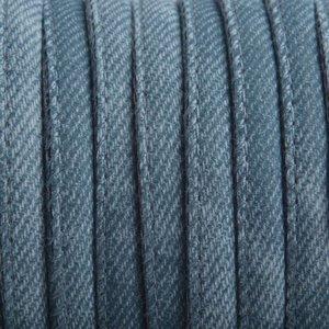 Blauw Imitatie Leer Jeans Turquoise blauw 6x4mm - prijs per 20cm