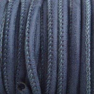 Blauw Imitatie Leer antique donker blauw 4x3mm - prijs per 20cm