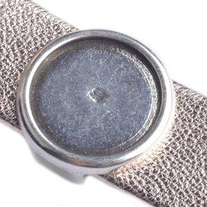 Zilver Leerschuiver rond voor 20mm cabochon Ø20x2mm Zilver DQ