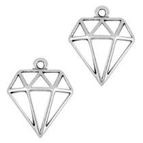 Zilver Bedel diamant Zilver DQ 18x16mm