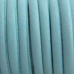 Blauw Imitatie Leer aqua blauw metallic 6x4mm - prijs per 20cm
