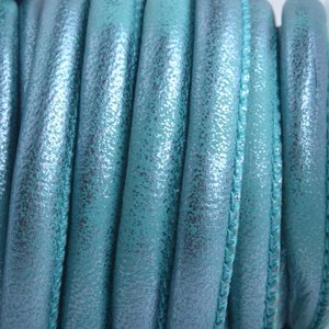 Turquoise Imitatie Leer turquoise lila metallic mermaid 6x4mm - prijs per 20cm