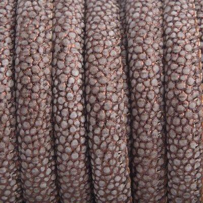 Bruin Imitatie Leer copper bruin metallic mini dots 6x4mm - prijs per 20cm