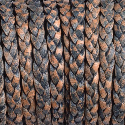 Grijs Plat gevlochten leer naturel antraciet blauw 5x2mm - prijs per 20cm