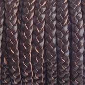 Bruin Plat gevlochten leer donker bruin 5x2mm - prijs per 20cm
