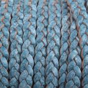 Blauw Plat gevlochten leer white base blue 5x2mm - prijs per 20cm