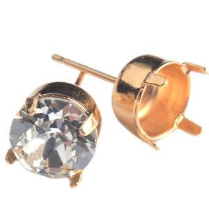 Goud Oorstekers swarovki SS29 verguld goud - 1 paar