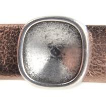 Zilver Leerschuiver Ø10x2mm vierkant swarovski Zilver DQ