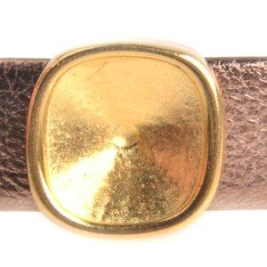 Goud Leerschuiver Ø10x2mm vierkant swarovski Goud DQ