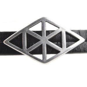 Zilver Leerschuiver Ø10x2mm geometrische ruit Zilver DQ 35x20mm
