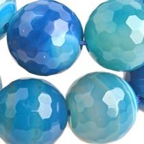Blauw Halfedelsteen stripe agaat facet rond Aqua 16mm