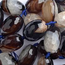 Zwart Halfedelsteen ice quartz agaat facet ovaal zwart bruin 27x18mm