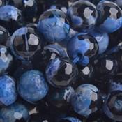 Blauw Halfedelsteen fire agaat facet rond blauw zwart 10mm