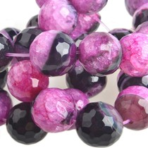 Roze Halfedelsteen ice quartz agaat facet rond roze zwart 14mm