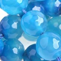 Blauw Halfedelsteen agaat facet rond natural blue 8mm