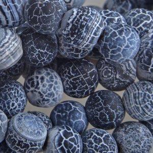 Zwart Halfedelsteen crackle agaat rond zwart 6mm