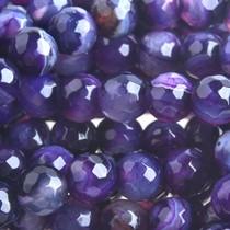 Paars Halfedelsteen agaat facet rond natural purple 6mm