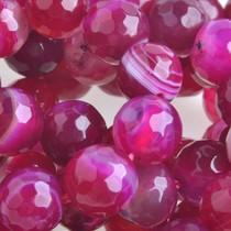 Roze Halfedelsteen agaat facet rond natural roze 8mm
