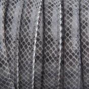 Grijs Imitatie Leer grijs reptiel 6x4mm - prijs per 20cm