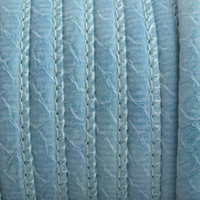Blauw Imitatie Leer aqua blauw reptiel 6x4mm - prijs per 20cm