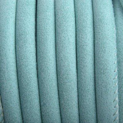 Blauw Imitatie Leer soft aqua 6x4mm - prijs per 20cm