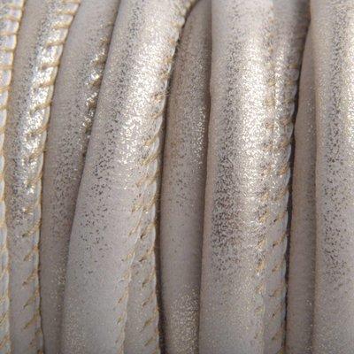 Bruin Imitatie Leer beige platina metallic 6x4mm - prijs per 20cm