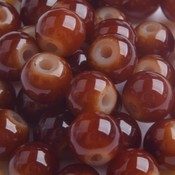 Bruin Glaskraal opaal warm bruin 6mm - 50 stuks