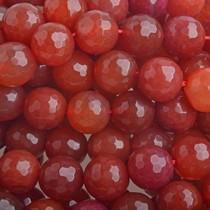Rood Halfedelsteen Jade rond facet rood 8mm