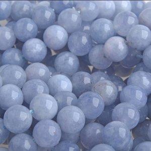 Blauw Halfedelsteen Quartz Aquamarine rond licht blauw 8mm
